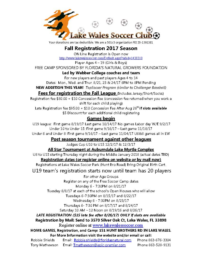 Fall Flyer 2017 Lake Wales Soccer Club 062817 _2_