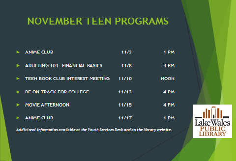 New Teen Programs LIST