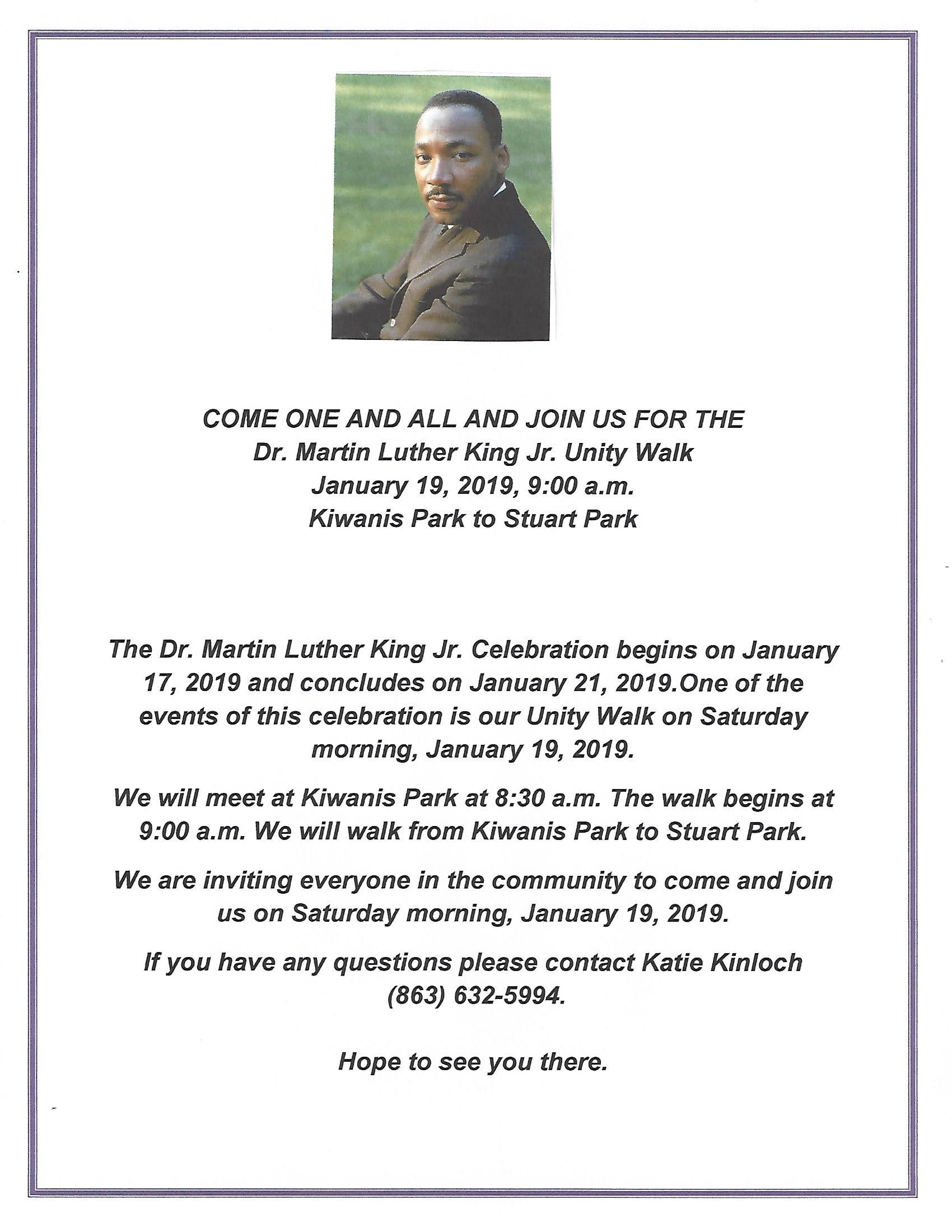 2019 MLK Unity Walk Invitation