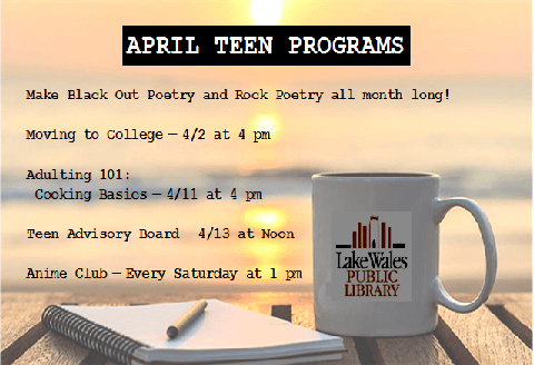 April Teen Programs