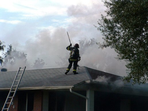 On the Roof of the Druid Circle House Fire